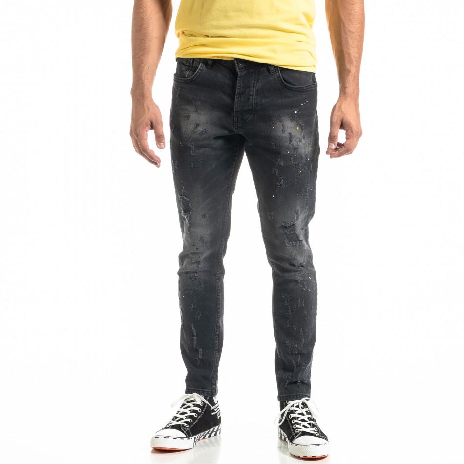 Мъжки черни дънки White Yellow Paint  tr020920-6