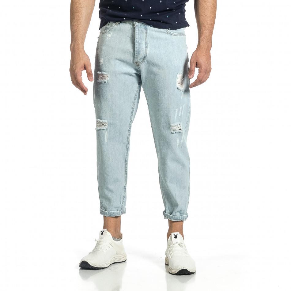Loose fit мъжки сини дънки с прокъсвания it150521-40