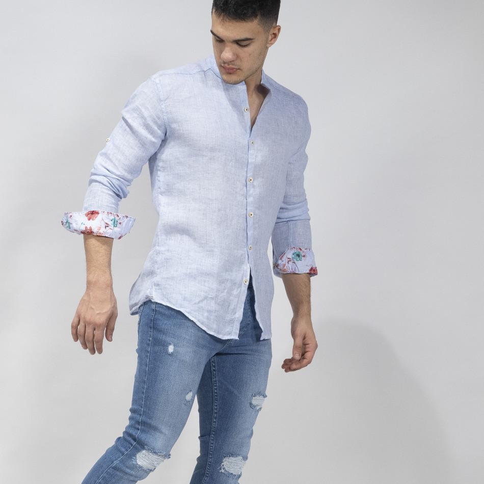 Мъжка синя риза от лен с яка столче tr110320-89
