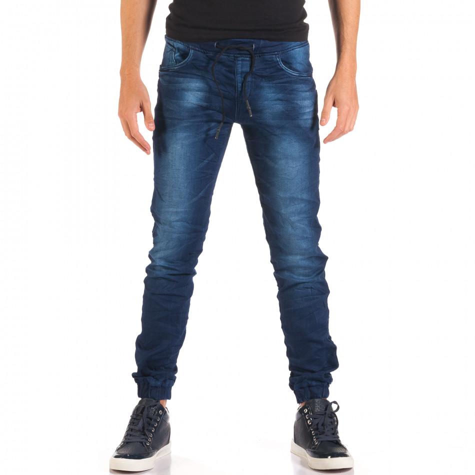 Мъжки тъмно сини дънки с връзки на кръста it150816-28