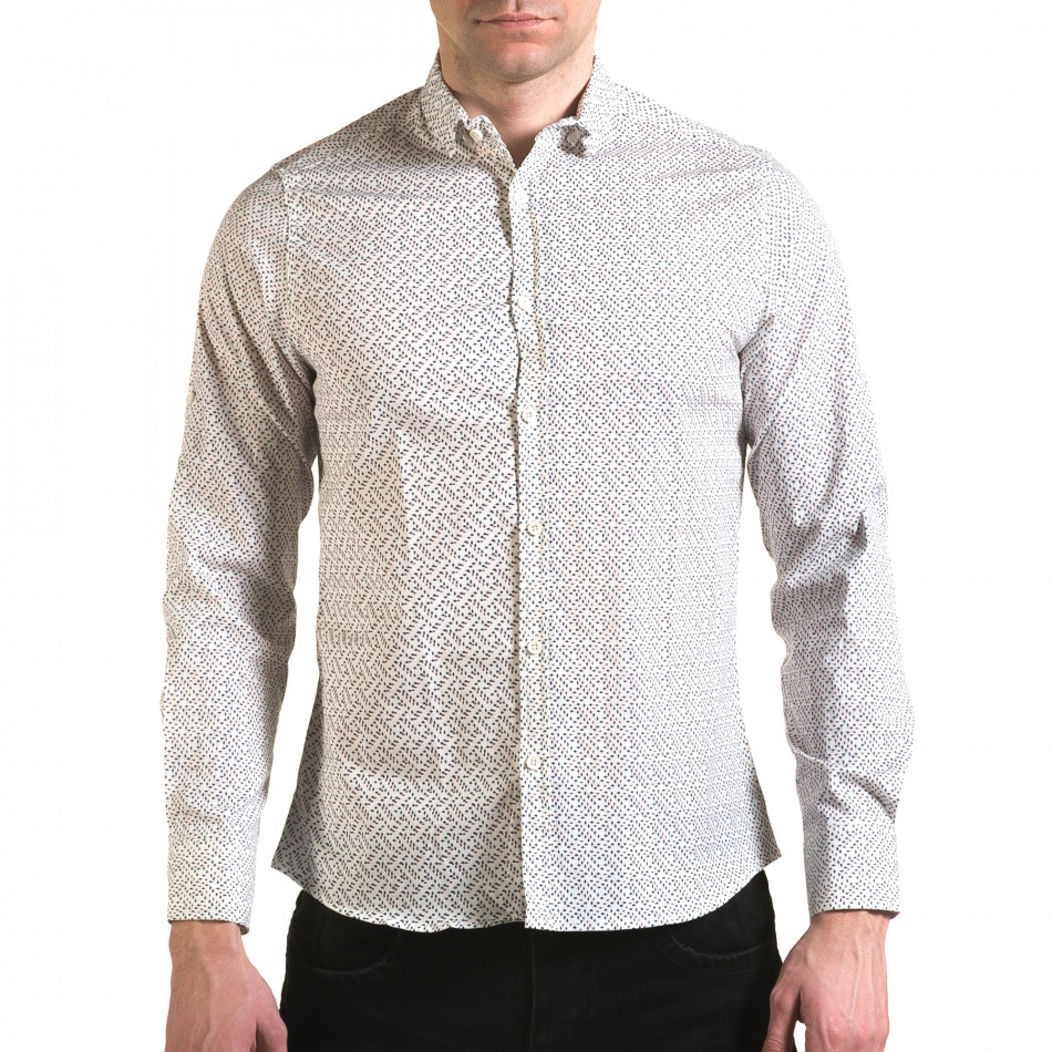 Мъжка бяла риза с малки разноцветни детайли il170216-97
