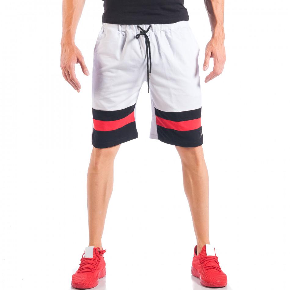 Бели мъжки шорти с ивици и метална звезда it050618-43