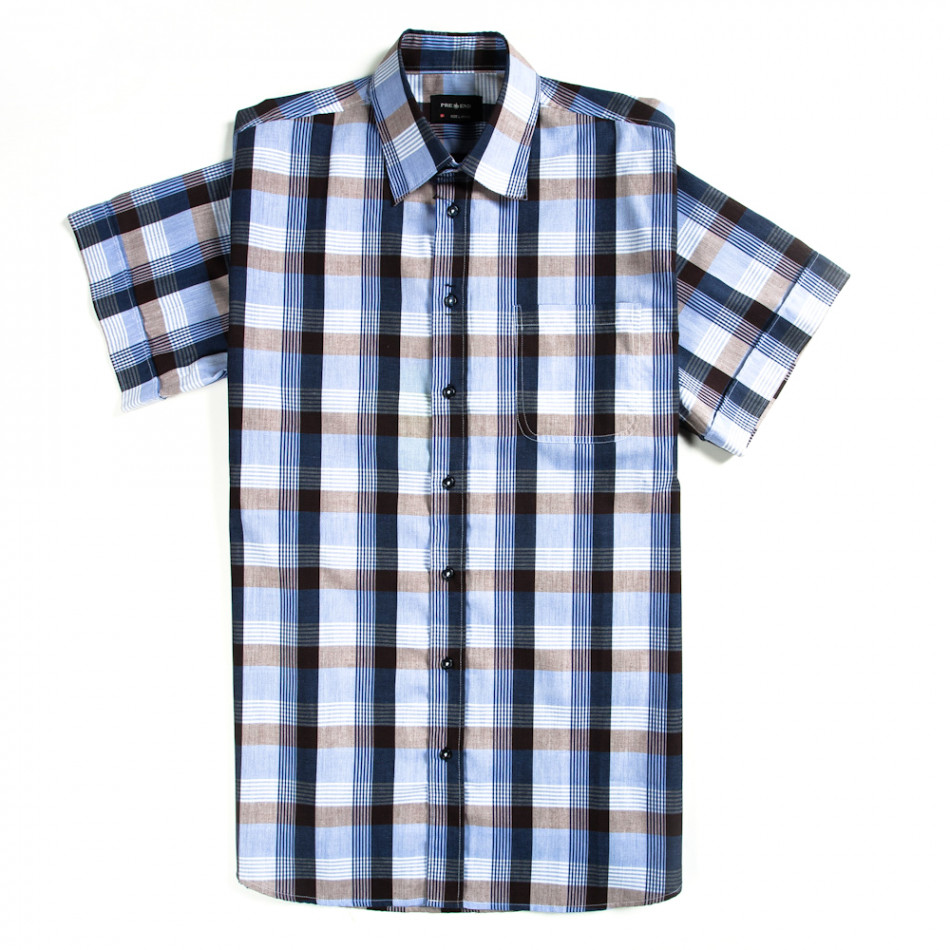 Мъжка риза Pre End лилаво каре с къс ръкав 120213-5