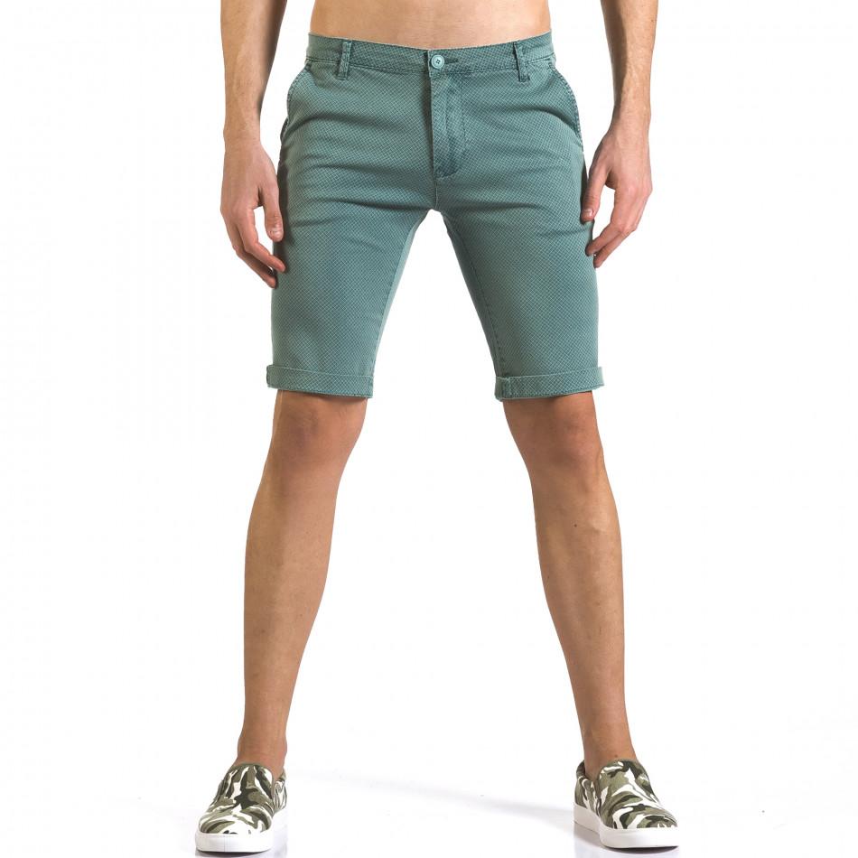 Мъжки зелени къси панталони с малки ромбчета it110316-47