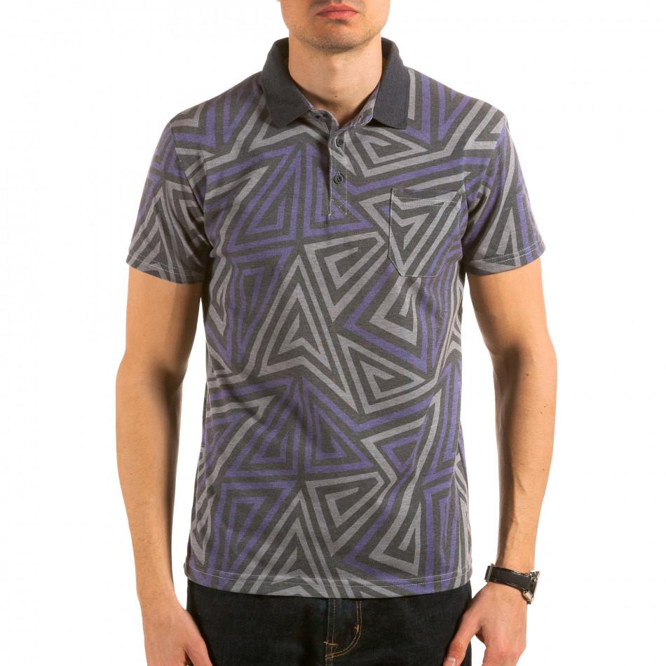 Мъжка сива тениска с яка с геометрични фигури il180215-104