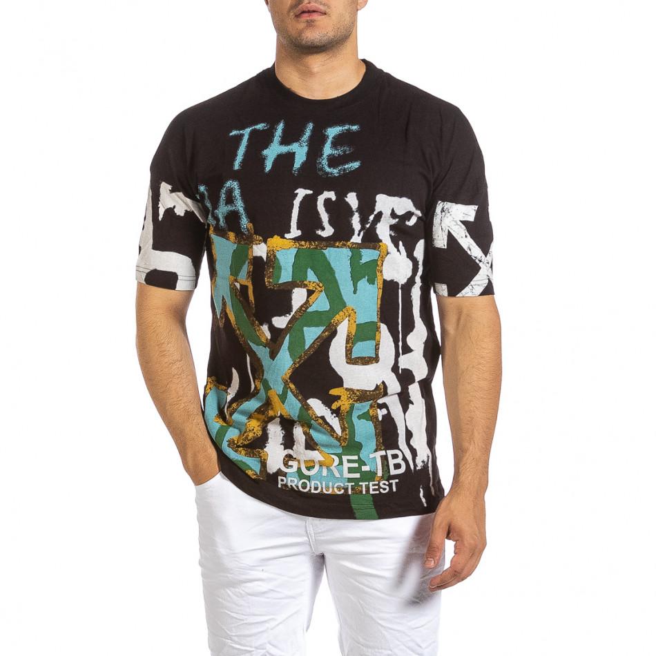 Oversize черна тениска с колоритен принт it240621-14