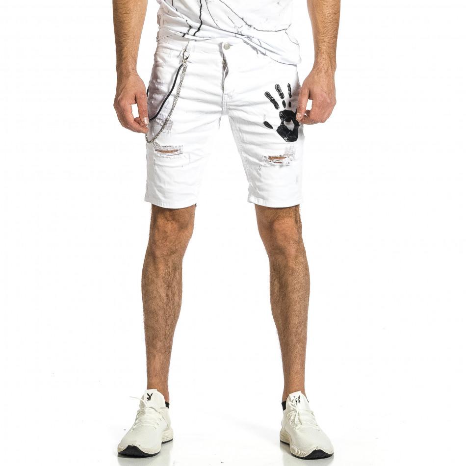 Destroyed бели къси дънки с гумиран принт gr270421-27