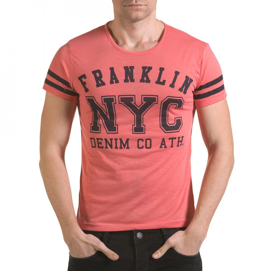 Мъжка розова тениска NYC il170216-3