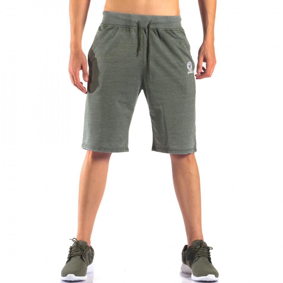Зелени мъжки шорти с леко избелял ефект it160616-2