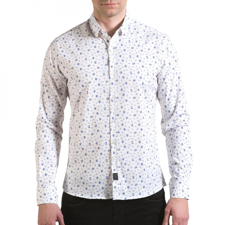 Мъжка бяла риза с малки цветя il170216-118