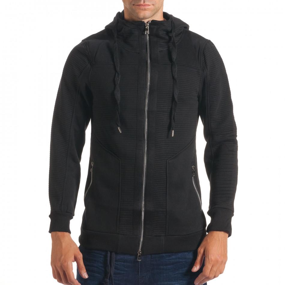 Мъжки черен удължен суичър с хоризонтални шевове it240816-50