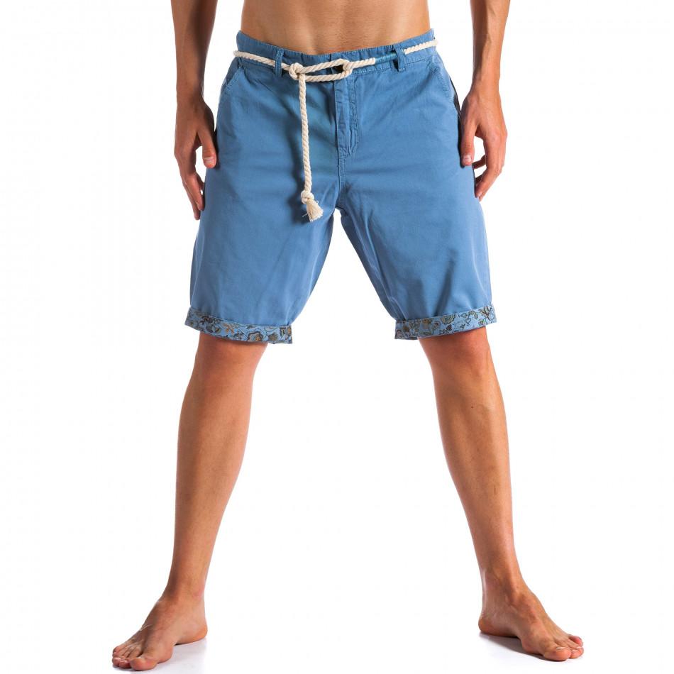 Мъжки сини къси панталони с въжен колан ca090514-8