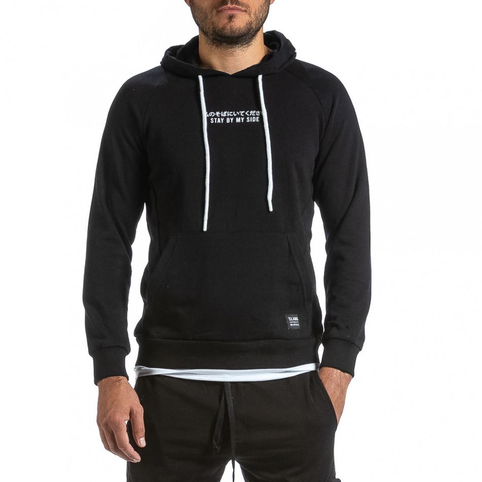 Мъжки черен суичър с качулка и контраст tr070921-36