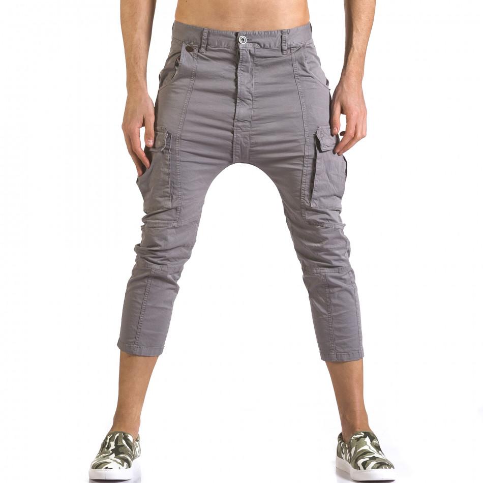 Мъжки сив панталон 7/8 с джобове на крачолите it110316-32