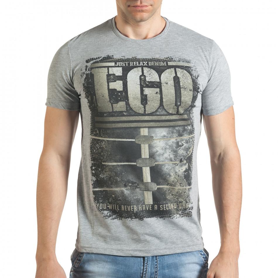 Сива мъжка тениска с голям бежов принт il140416-31