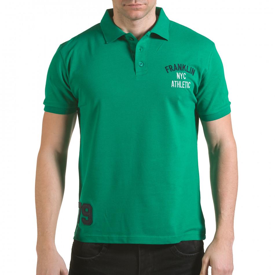 Мъжка зелена тениска с яка с надпис Franklin NYC Athletic il170216-32