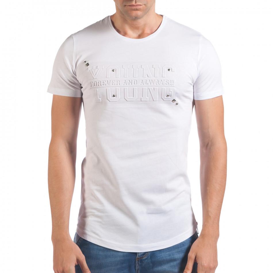 Мъжка бяла тениска с релефен надпис Young il060616-81