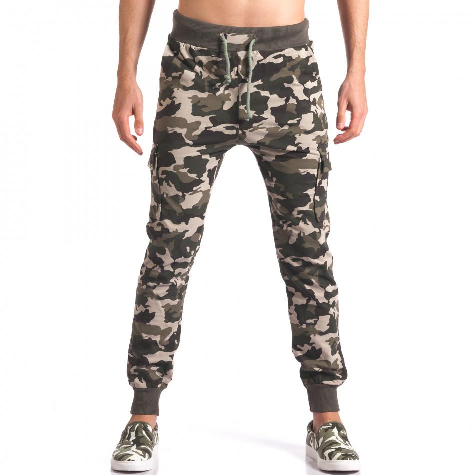 Мъжко камуфлажно долнище с джобове на крачолите it250416-3