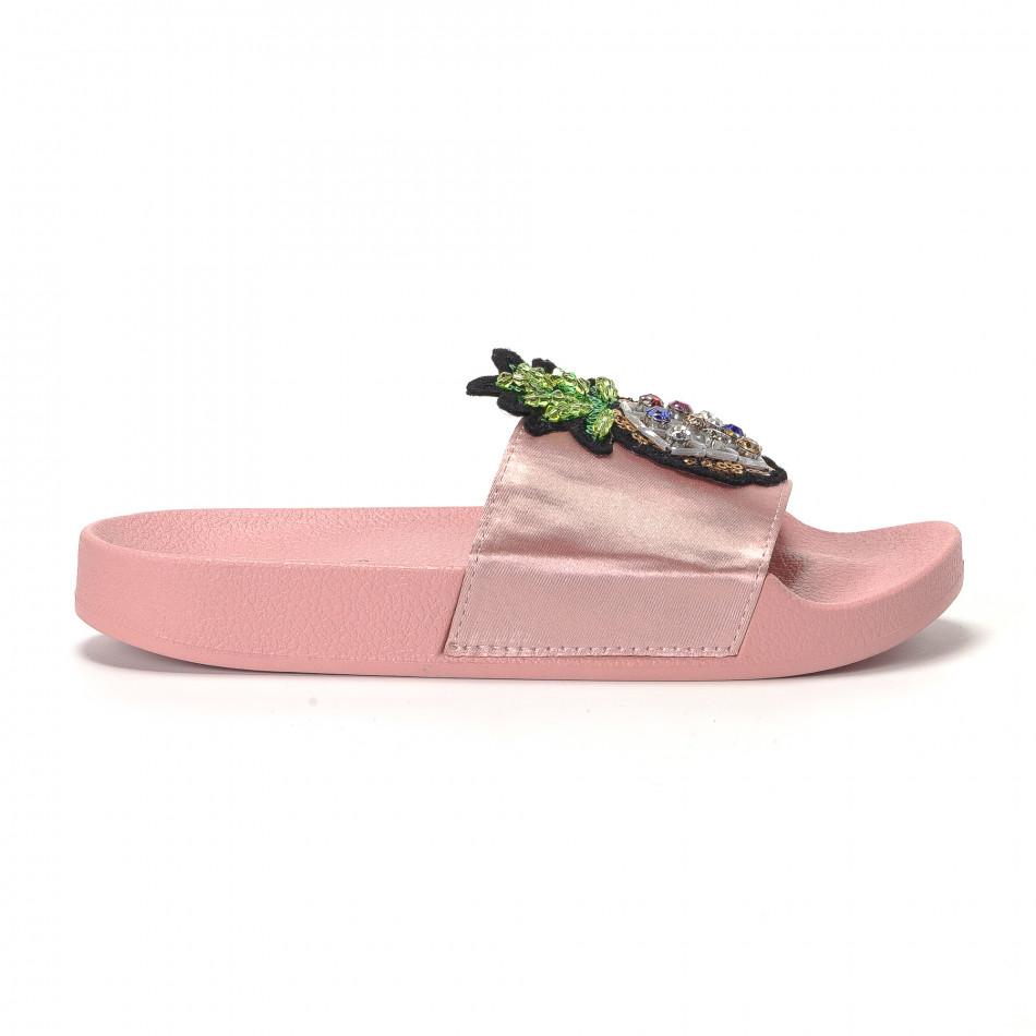 Розови дамски чехли с ананас it230418-36