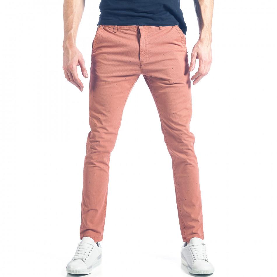 Мъжки розов панталон с малки детайли по плата it290118-35