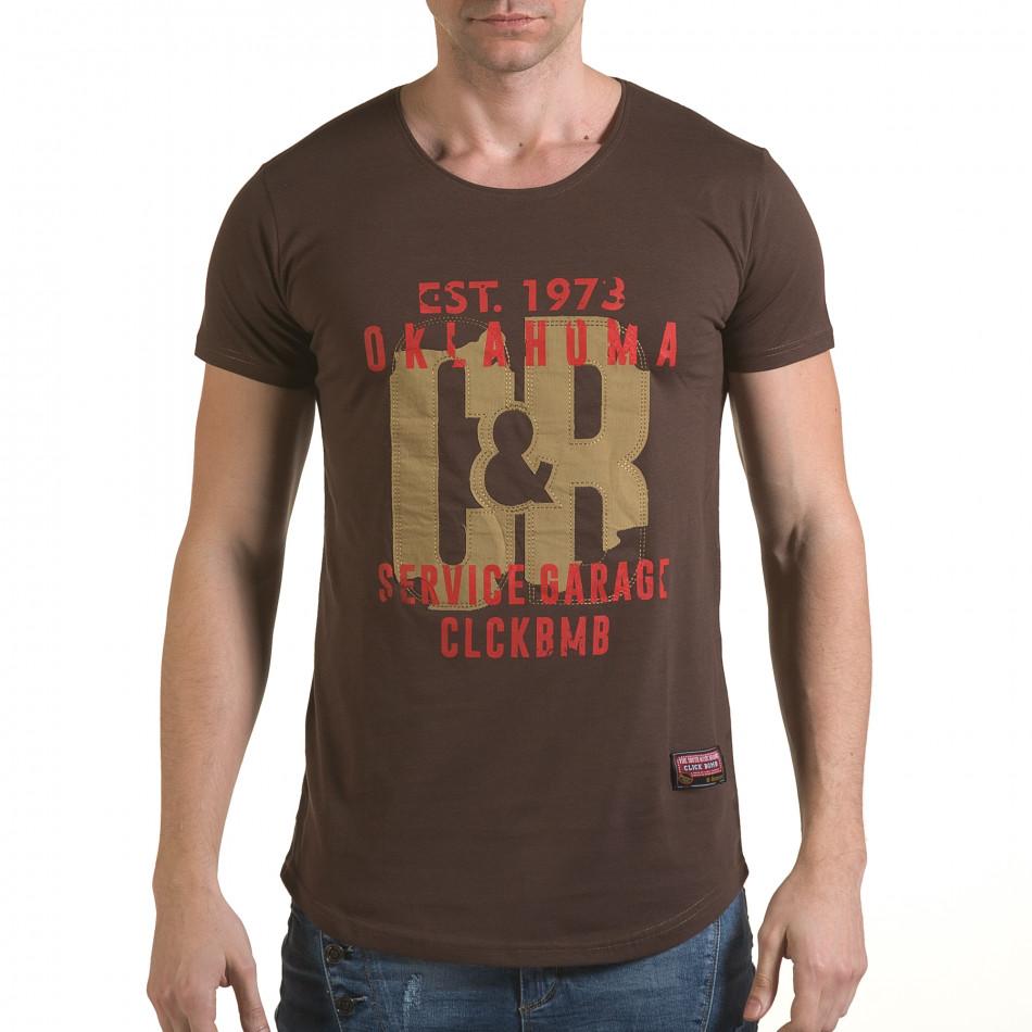 Мъжка кафява тениска с релефен надпис C&B il170216-87