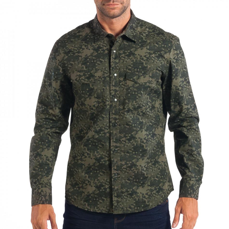 Мъжка риза зелен камуфлаж lp070818-118