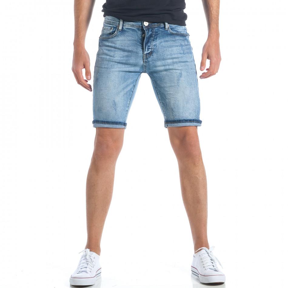 Мъжки къси дънки с малки скъсвания it190417-59