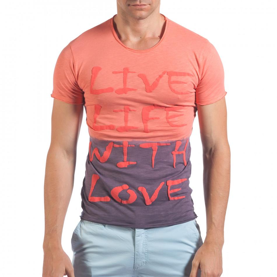 Мъжка розово-лилава тениска Live Life With Love il060616-34