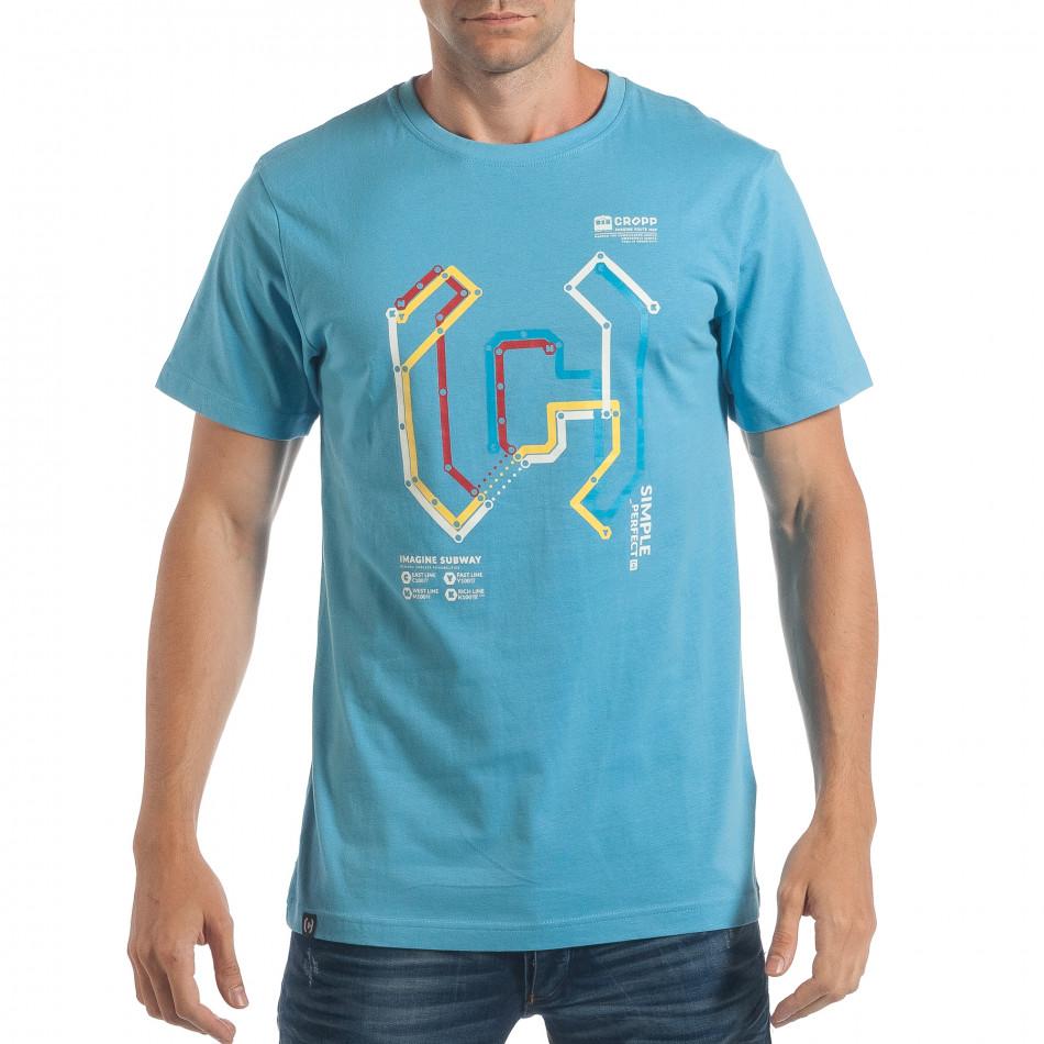 Мъжка синя тениска CROPP с шарен принт lp180717-204