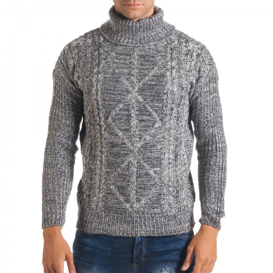 Мъжки синьо-бял зимен пуловер с поло яка it170816-26