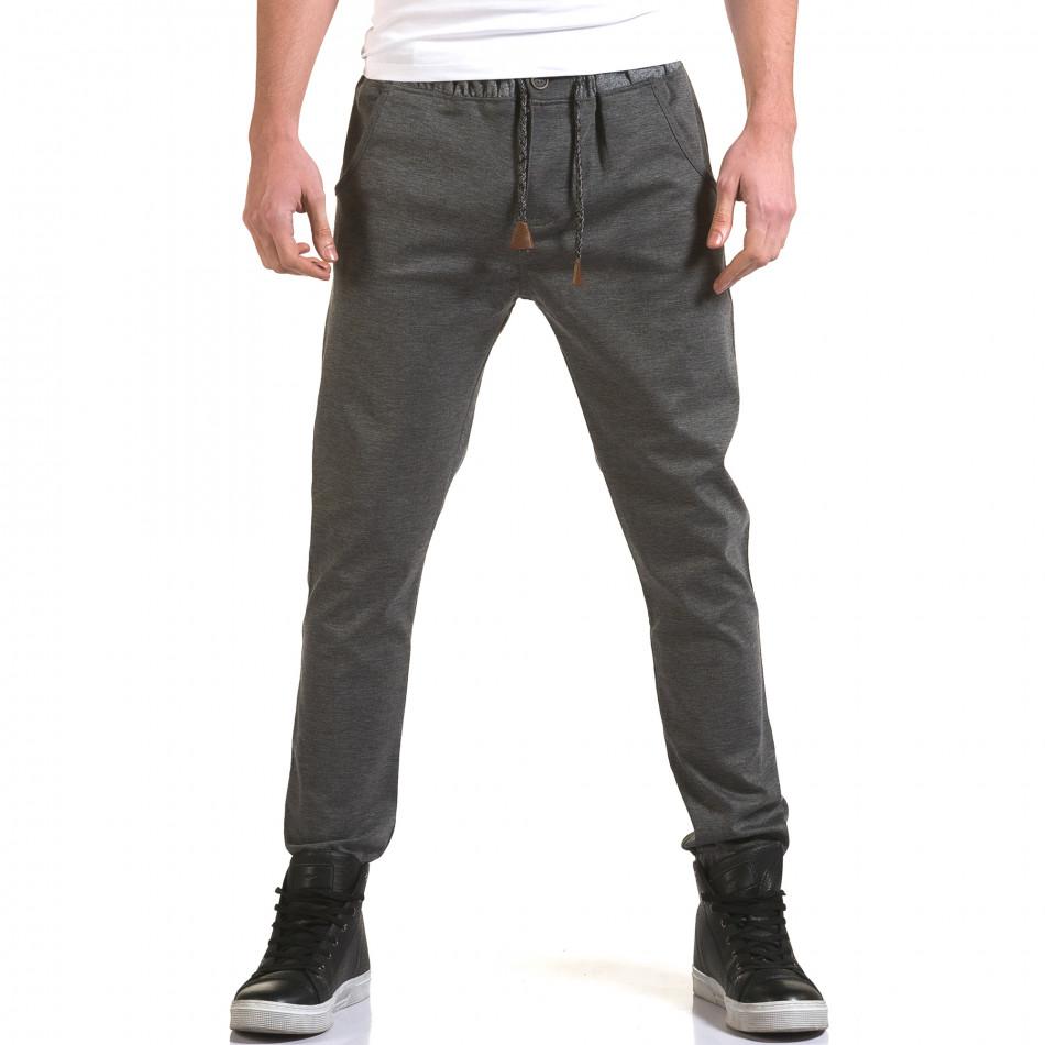 Мъжки светло сив панталон с контрастен ластик it090216-29