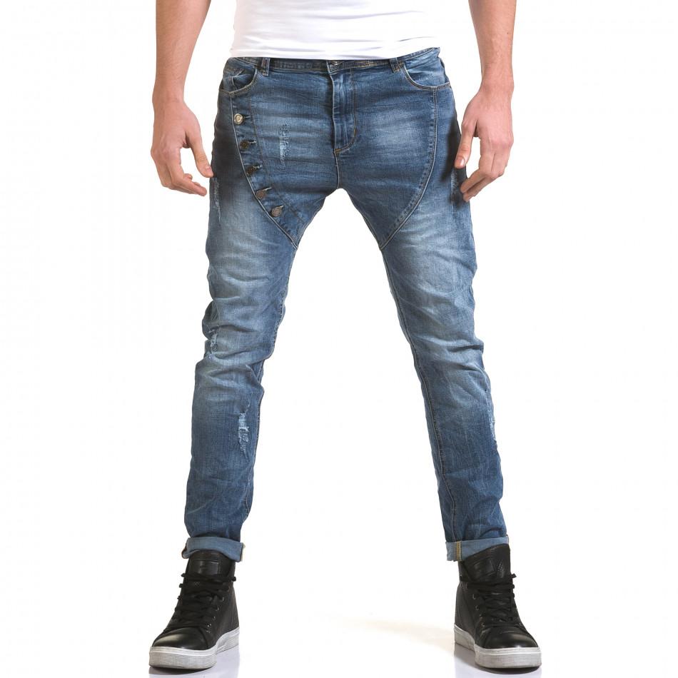 Мъжки светло сини слим дънки с декоративни копчета it090216-5