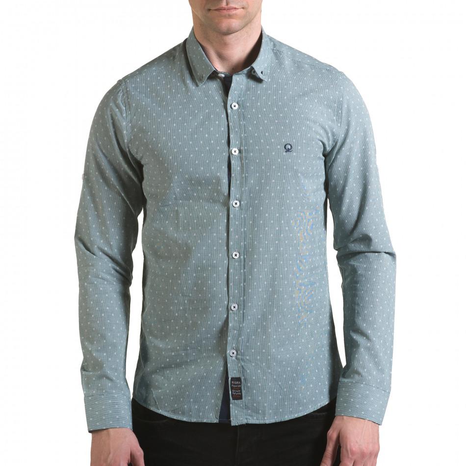 Мъжка зелена риза на фини квадратчета с лого il170216-107