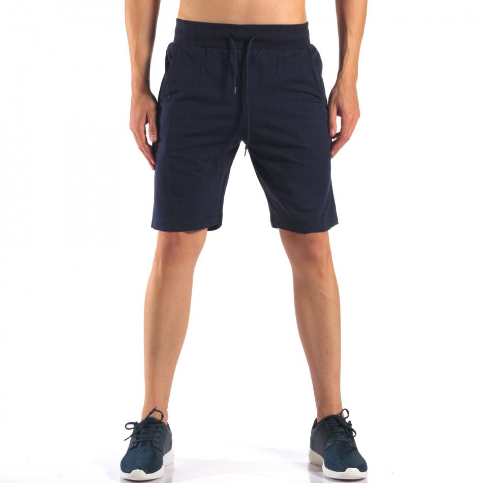 Тъмно сини мъжки шорти изчистен модел it160616-9
