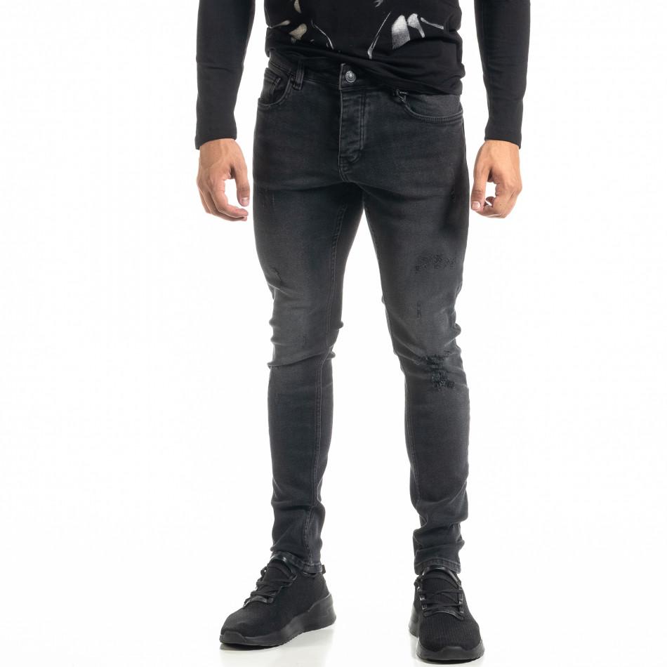 Мъжки черни дънки с леки прокъсвания tr020920-11