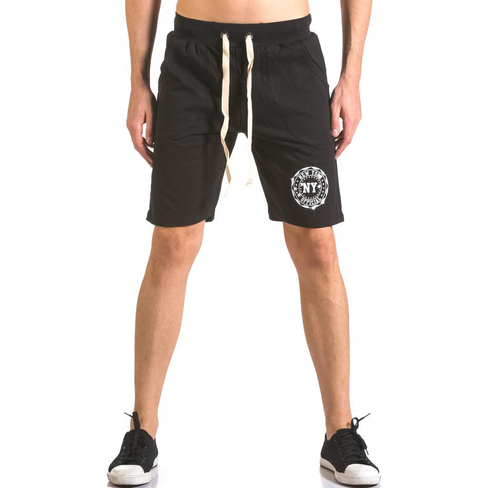 Мъжки черни шорти за спорт с малък принт ca050416-44