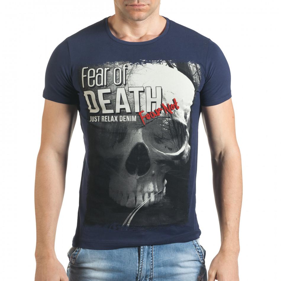 Синя мъжка тениска с голям череп и надпис il140416-24