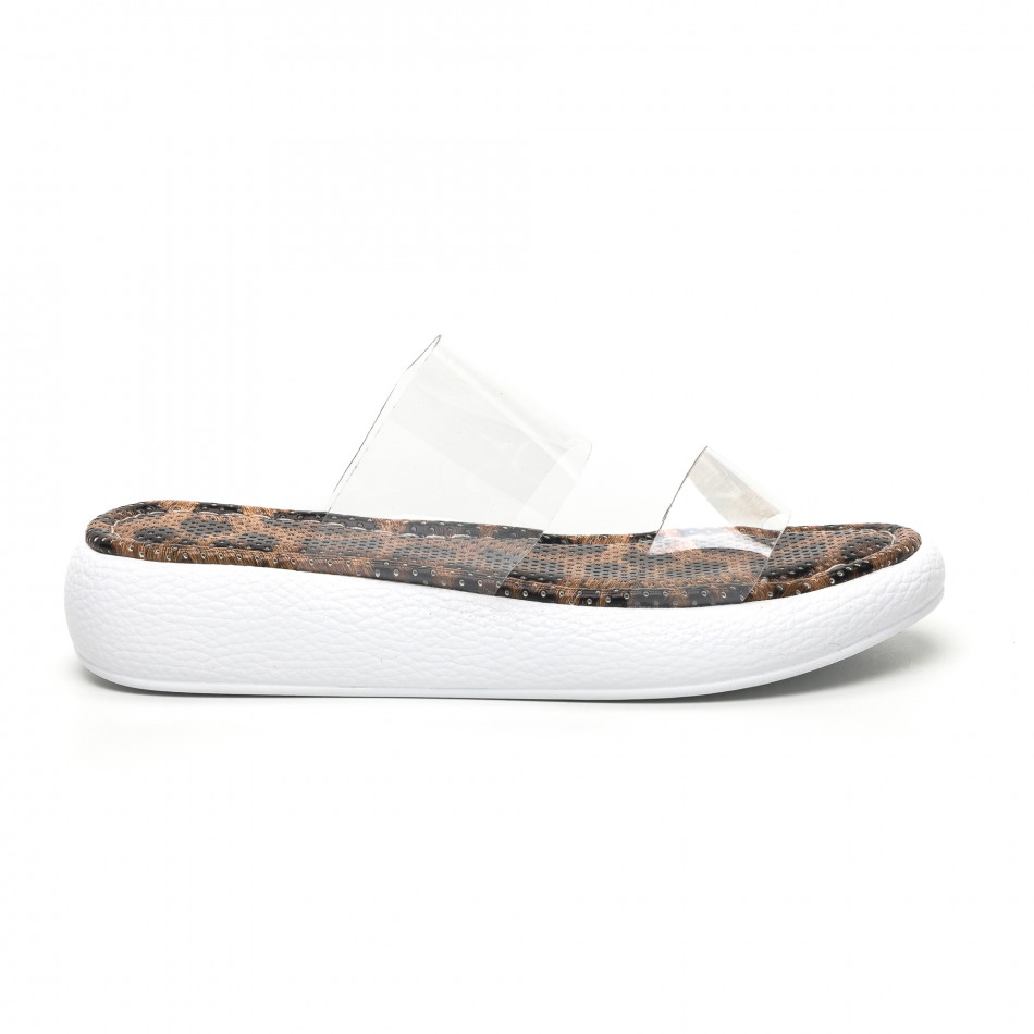 Дамски чехли с прозрачни каишки леопард tr180320-6