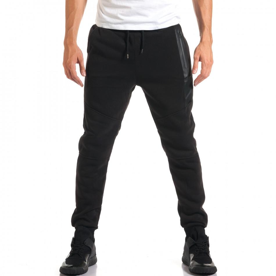 Мъжко черно долнище с нестандартни джобове it160916-42