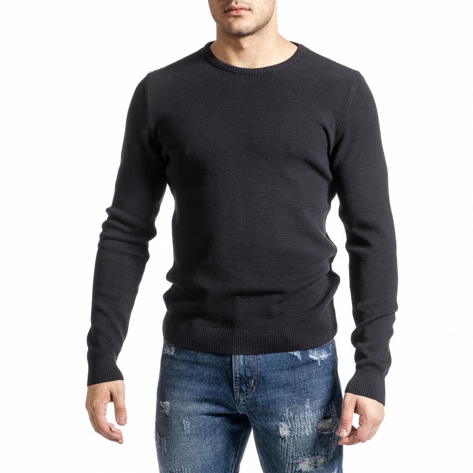 Памучен пуловер пике цвят графит tr231220-5