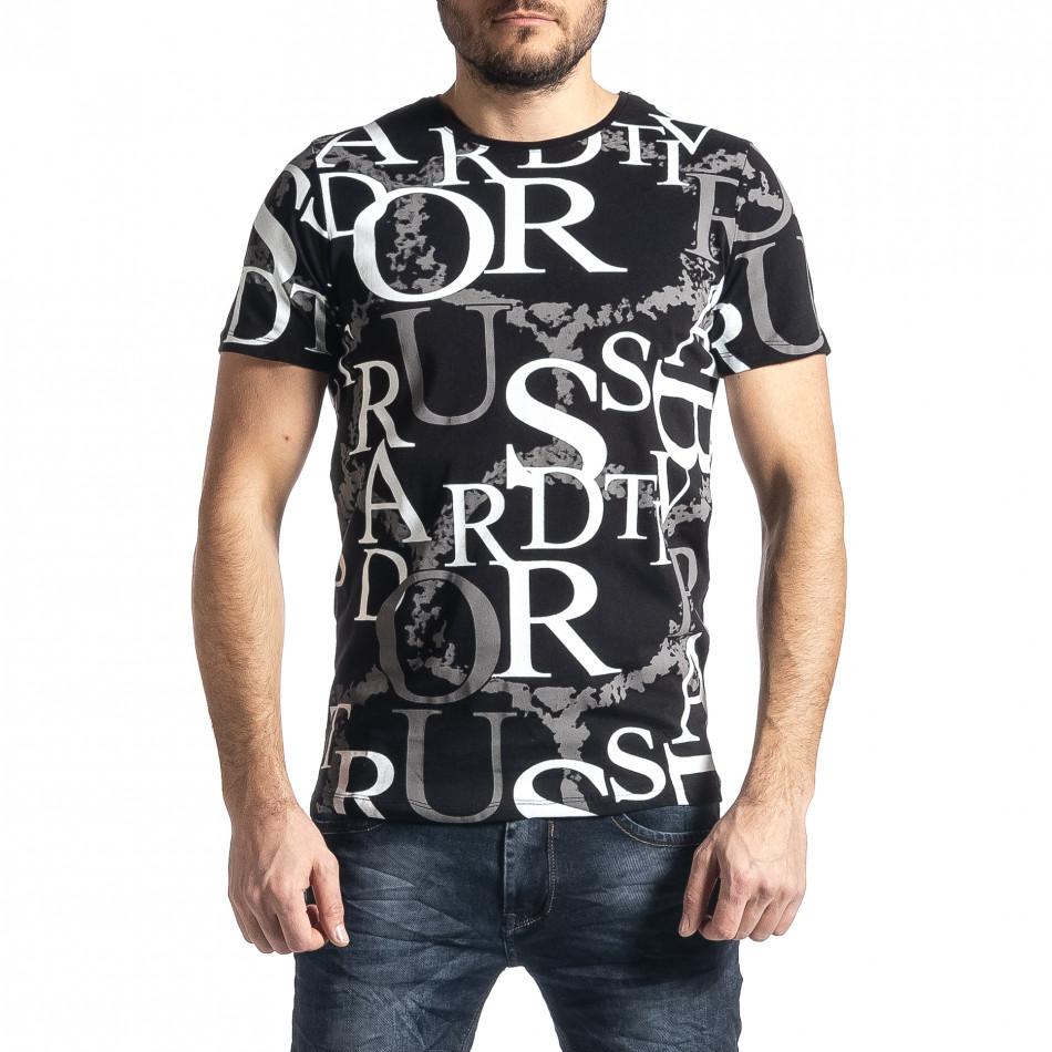 Мъжка черна тениска с десен tr010221-2