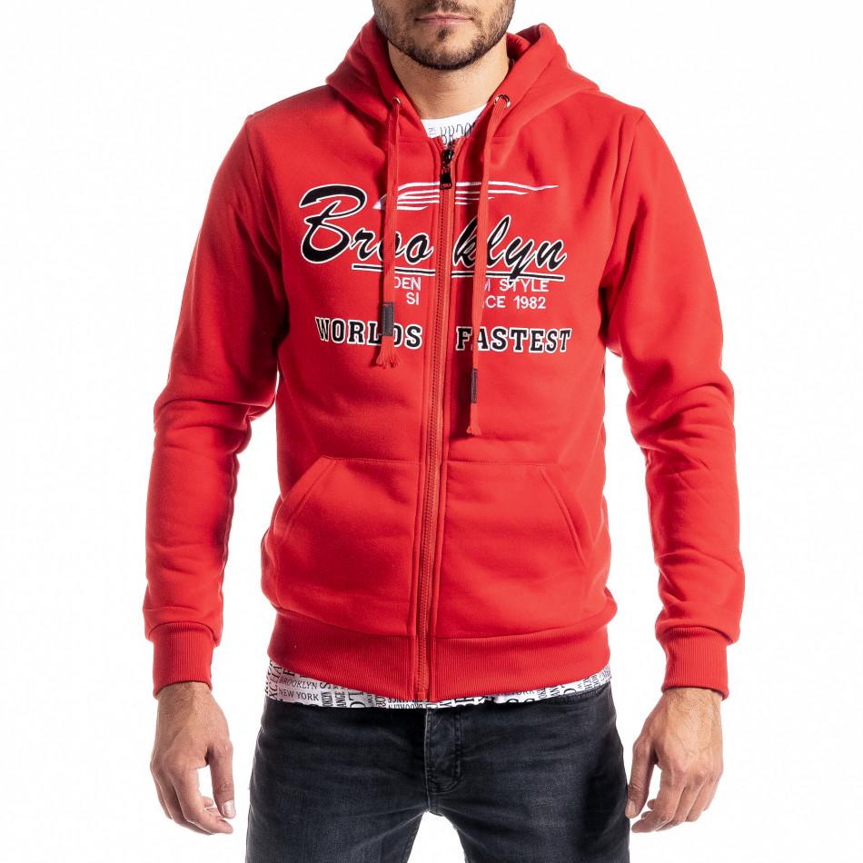 Мъжки червен суичър с цип Brooklyn it300920-43