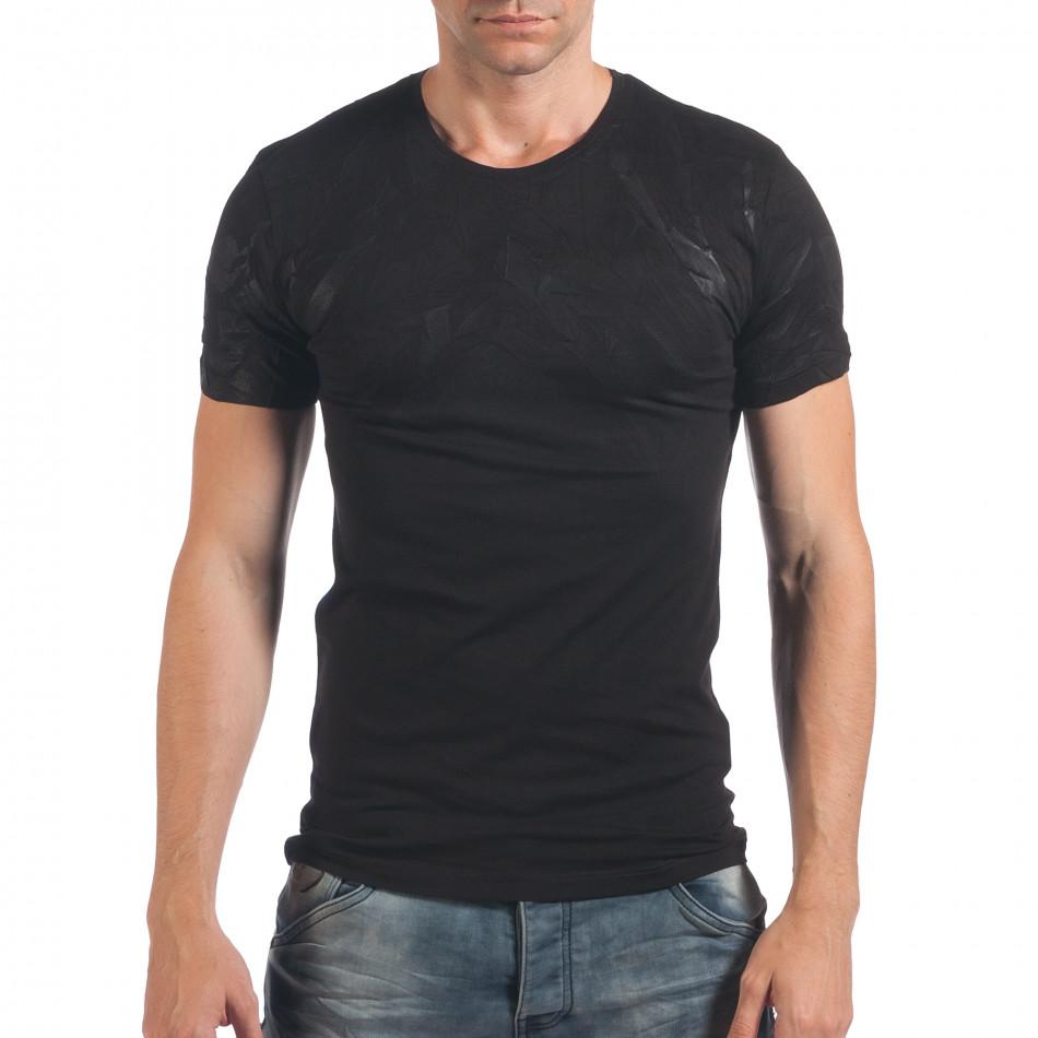 Мъжка черна тениска с ефектен принт il060616-37