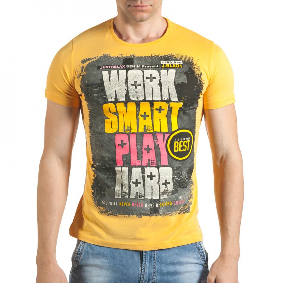 Мъжка жълта тениска с надпис отпред il140416-37
