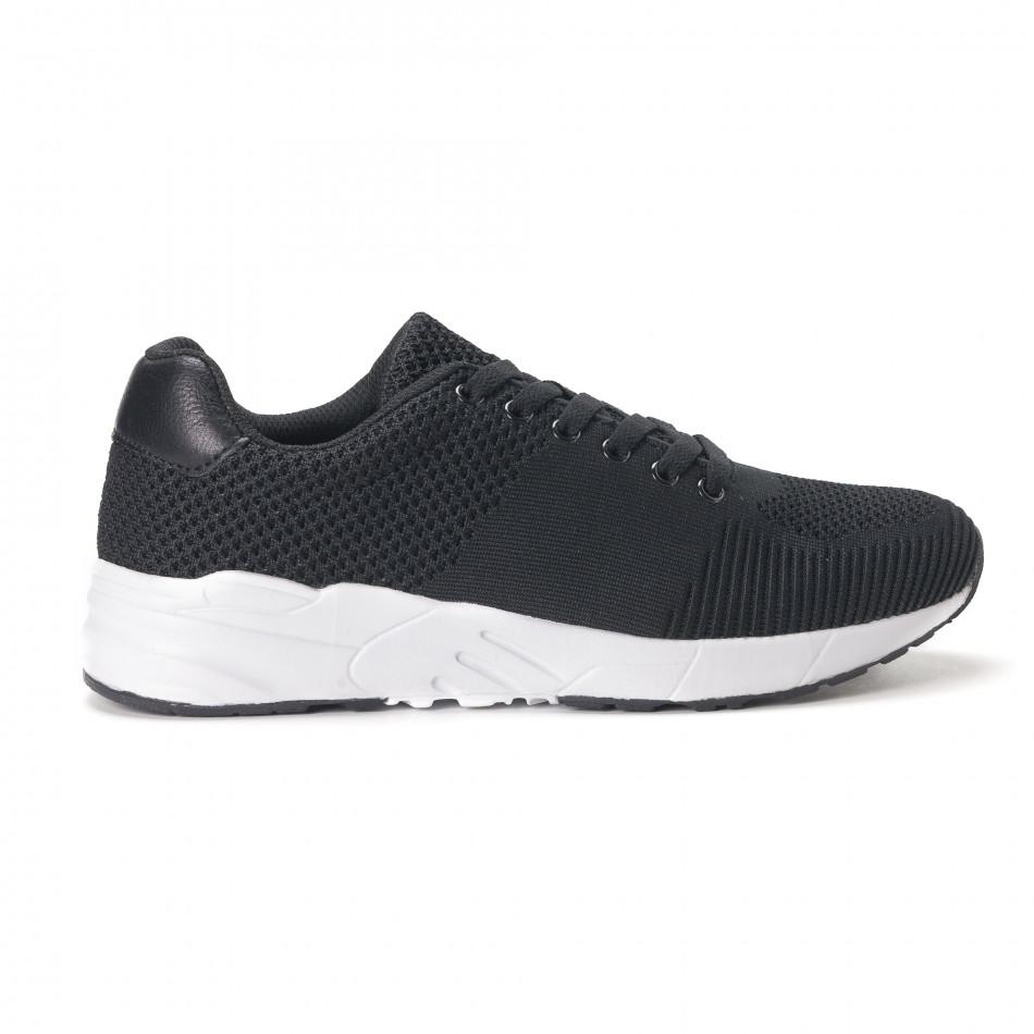 Леки мъжки маратонки от черен релефен текстил it020618-21