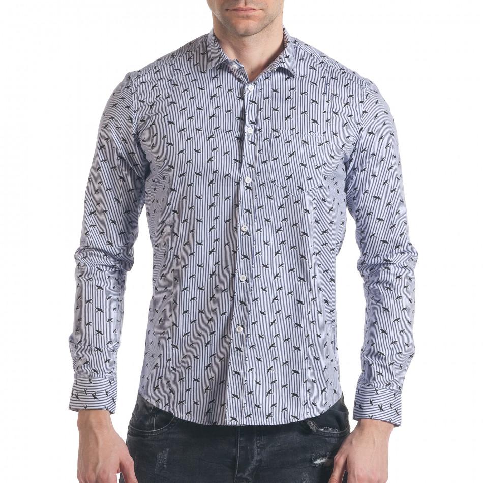 Мъжка синьо-бяла раирана риза с птички it140317-2