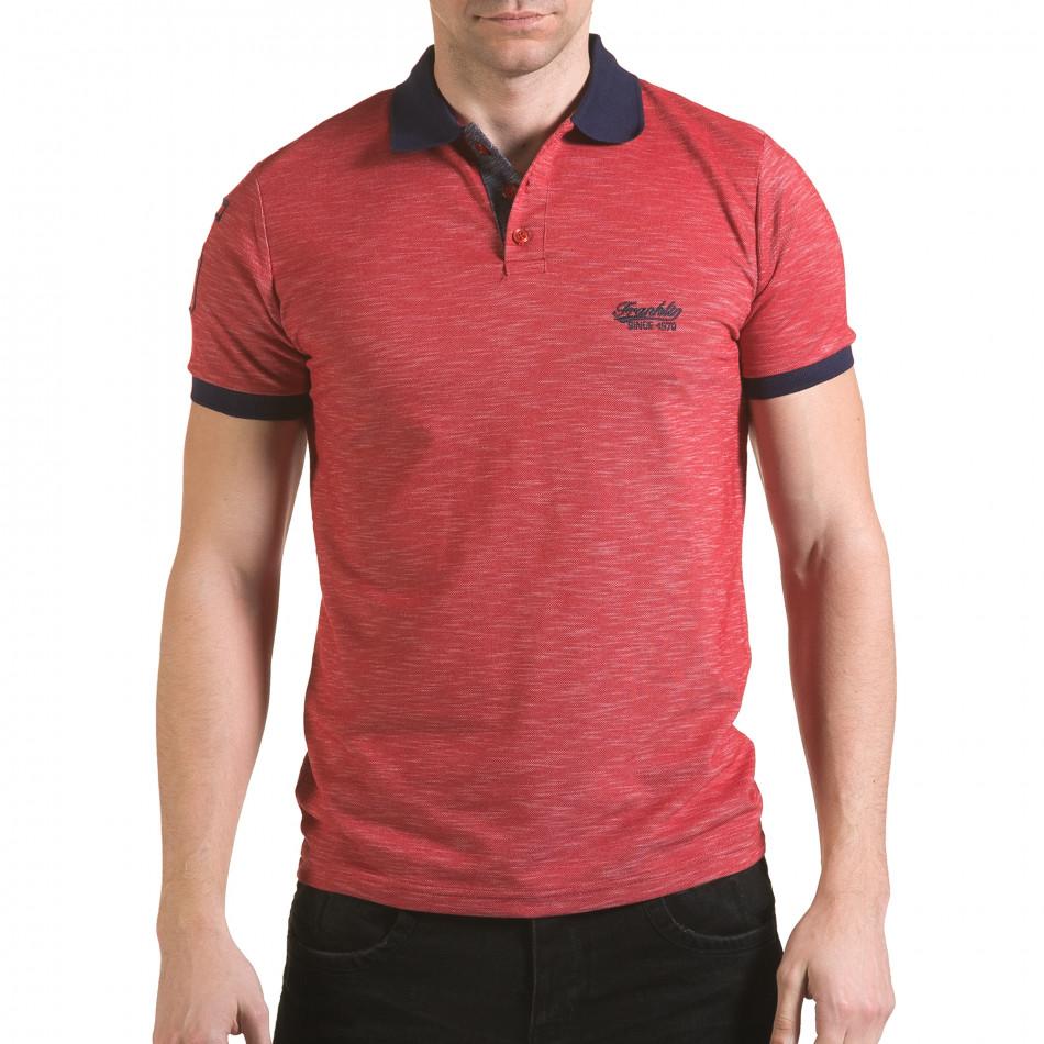 Мъжка червена тениска със синя яка il170216-37
