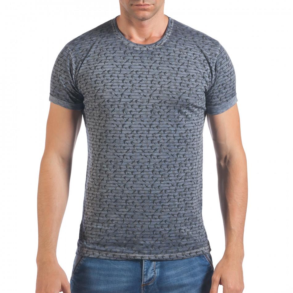Мъжка синя тениска с малки лястовички il060616-43