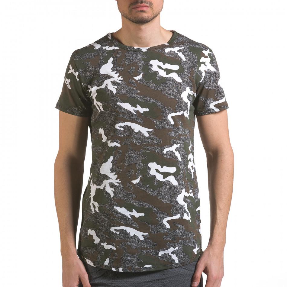 Мъжка тениска сиво-зелен камуфлаж it110316-97