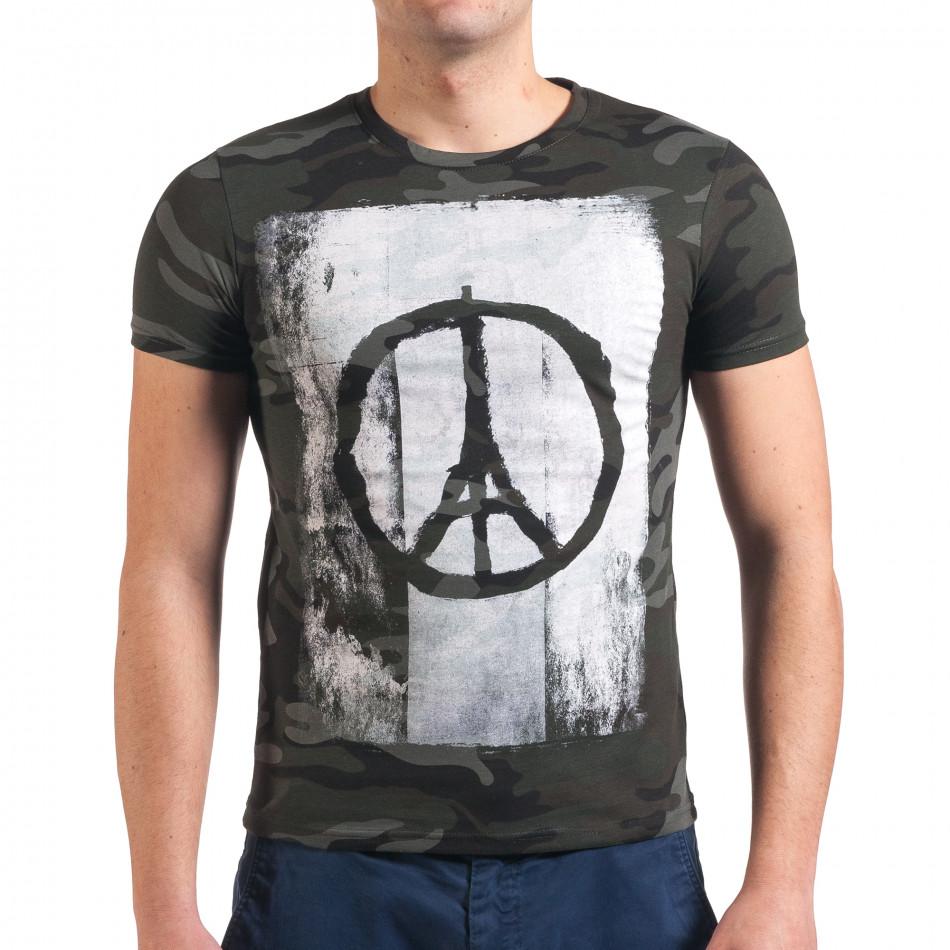 Мъжка камуфлажна тениска с Айфеловата кула it010416-1